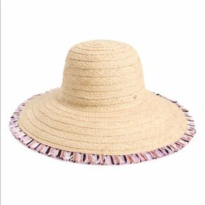 KATE SPADE multicolor fringe straw sun hat.
